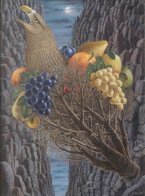 Gervasio Gallado pintura surrealista pájaro fruta