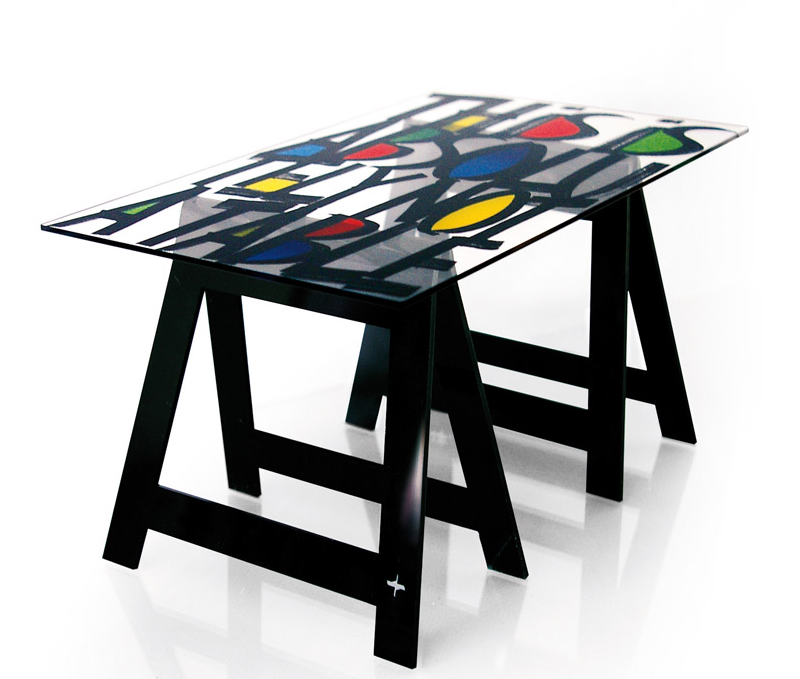 trestle table with acrylic top