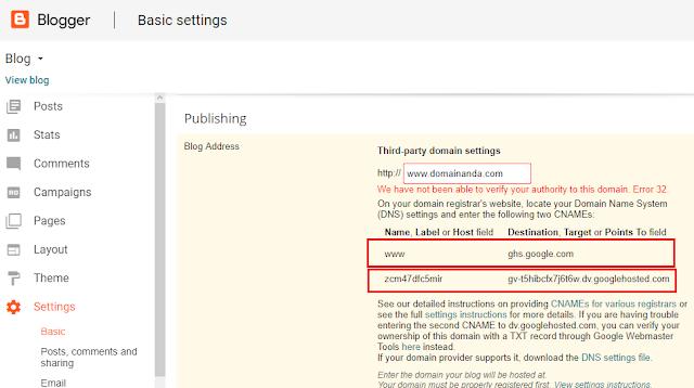 Cara Mudah Pasang Domain Di Blogspot