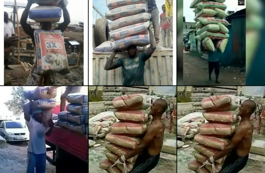 Northerners Are Strong See Photos Of Men Carrying Cements, Rice And Other Heavy Items On Their Heads