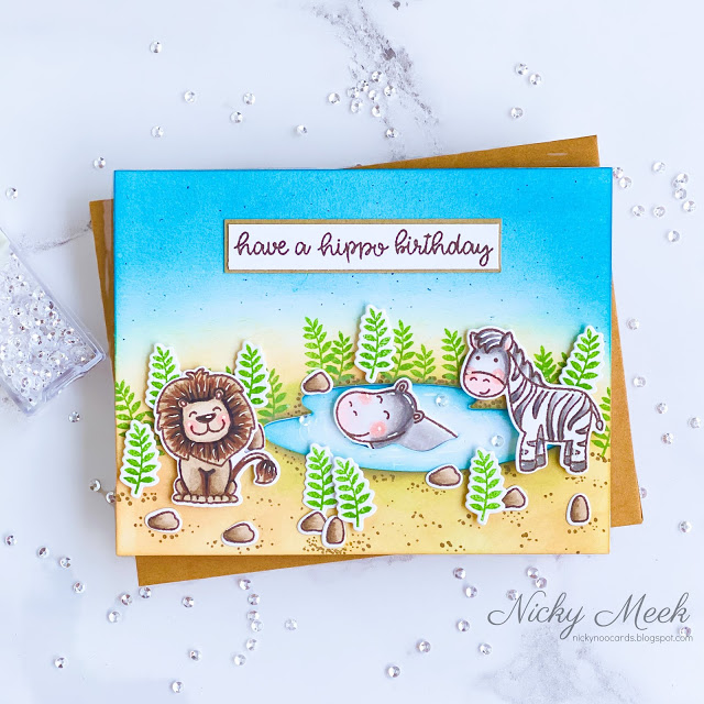 Sunny Studio Stamps: Savanna Safari Birthday Cards by Nicky Meek