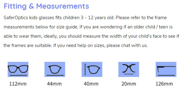 SaferOptics size measurements easy guide