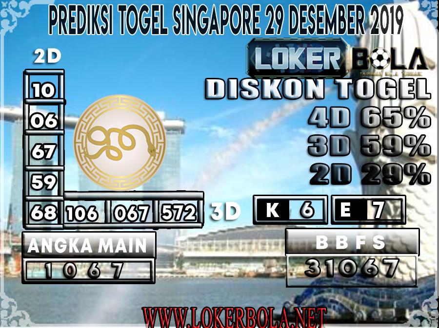 PREDIKSI TOGEL SINGAPORE LOKERBOLA 29 DESEMBER 2019