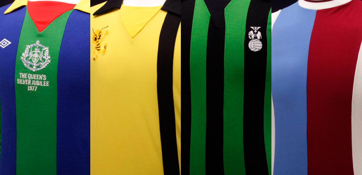 0ff1344b781 Now the iconic Double Diamond brand Umbro has shared four of their striped  jerseys of the 1970s.