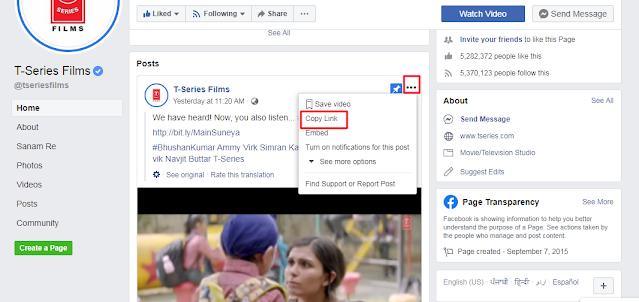 Copy Facebook Link