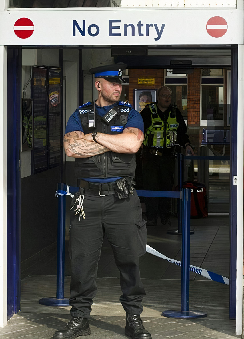 handsome-bald-male-bank-security-worker-uniformed-bossy-british-policemen-strong-biceps