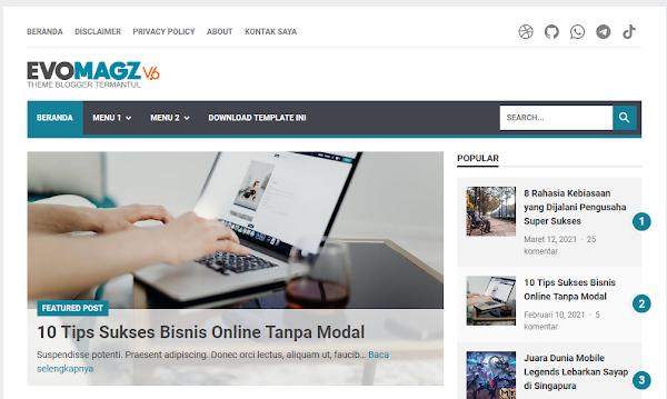 Update 6.1 Evomagz Responsive Blogger Template