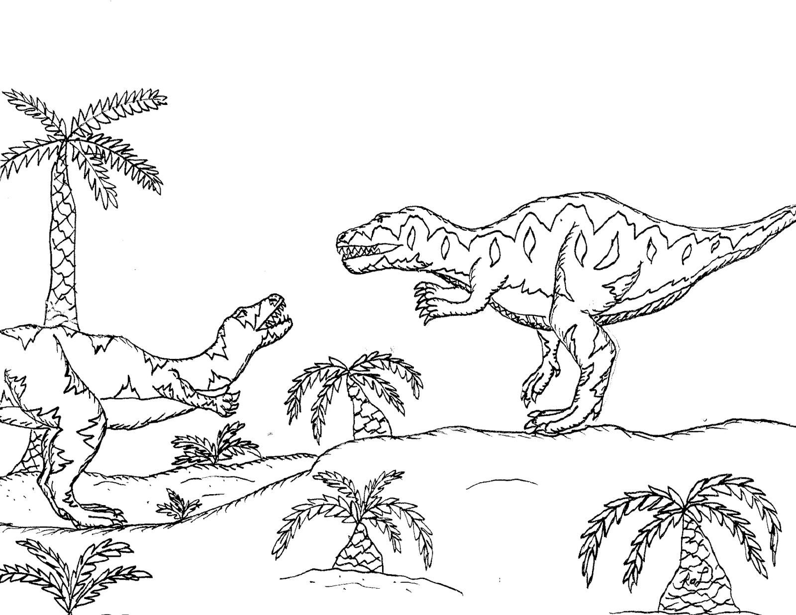 Robin\'s Great Coloring Pages: Torvosaurusvs Allosaurus & Rhamphorhyncus