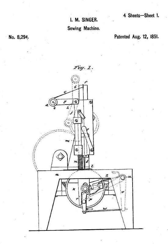 Singer sewing machine patent 1851 - sheet 1