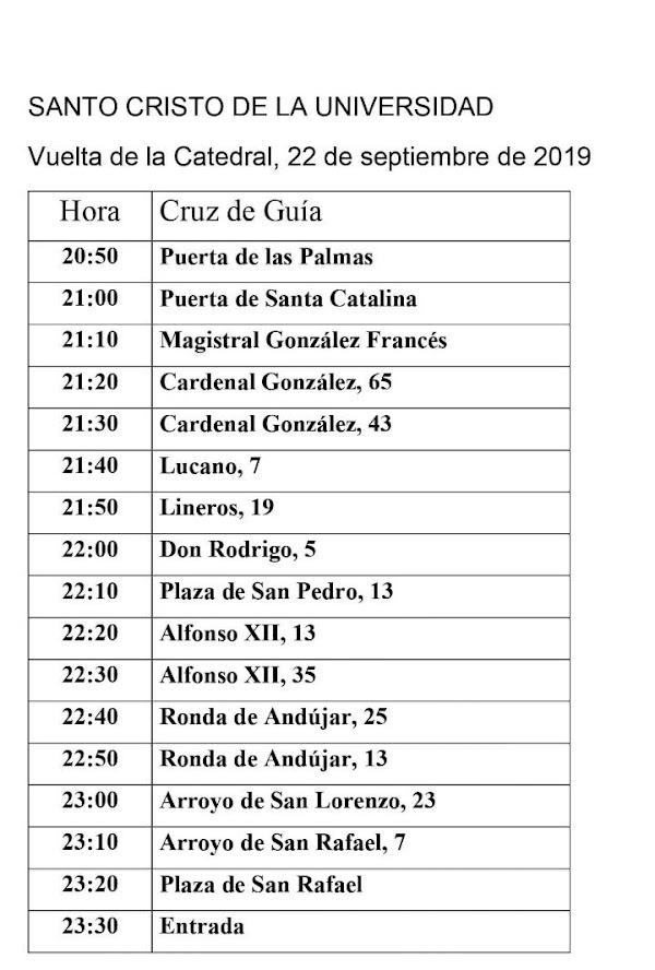 Cambios en el horario e itinerario de la Hermandad Universitaria en su regreso de la Magna en Córdoba