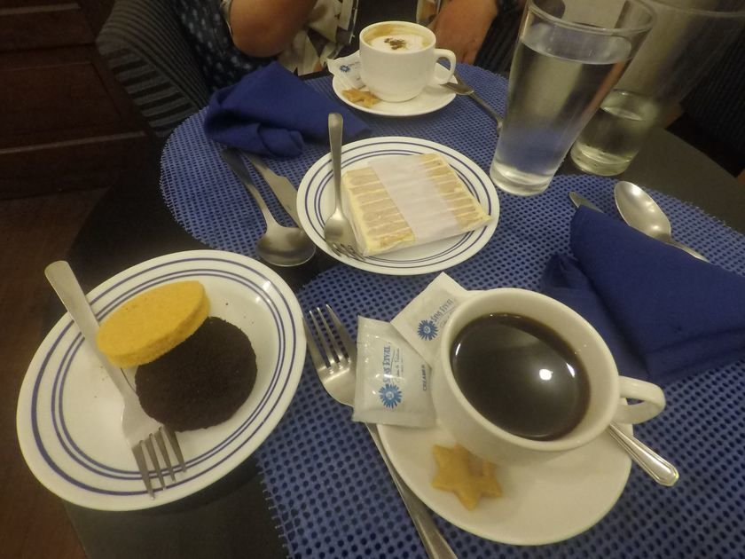 Enjoying sans rival and silvanas at Dumaguete City