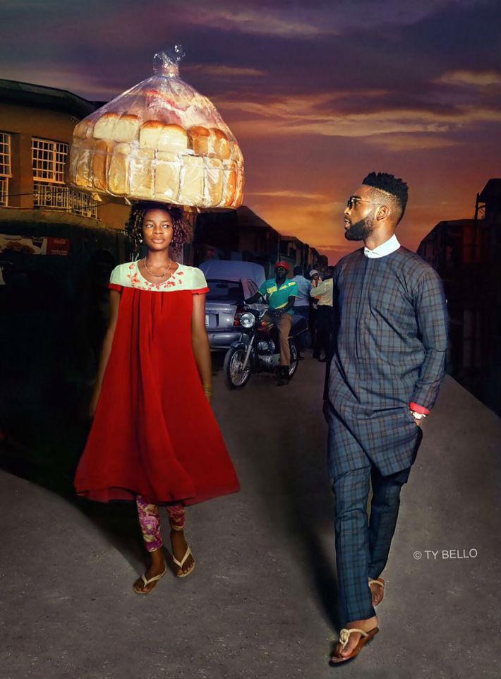 Vendedora de pão nigeriana aparece acidentalmente na foto e consegue um contrato de modelo