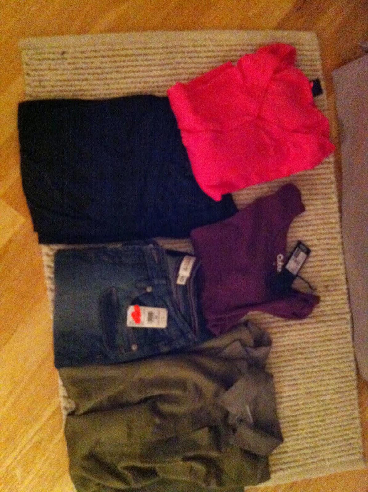 9c42abf4 Tynn olivengrønn bluse, 3/4lang bukse(ny), t-skjorte(ny), svart pen  overdel, bringebærrød jakke, pysjamasbukse(ny) og hvit t-skjorte fra Kari  Traa.