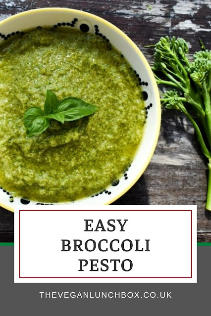 An easy recipe for a lush, green broccoli pesto with no cheese. Can be made with standard broccoli or tenderstem broccoli.