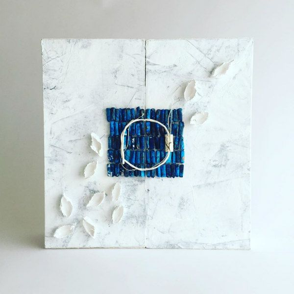 blue and white handmade remembrance book