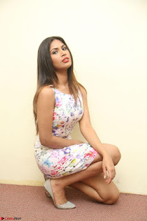 Nishi Ganda stunning cute in Flower Print short dress at Tick Tack Movie Press Meet March 2017 106.JPG