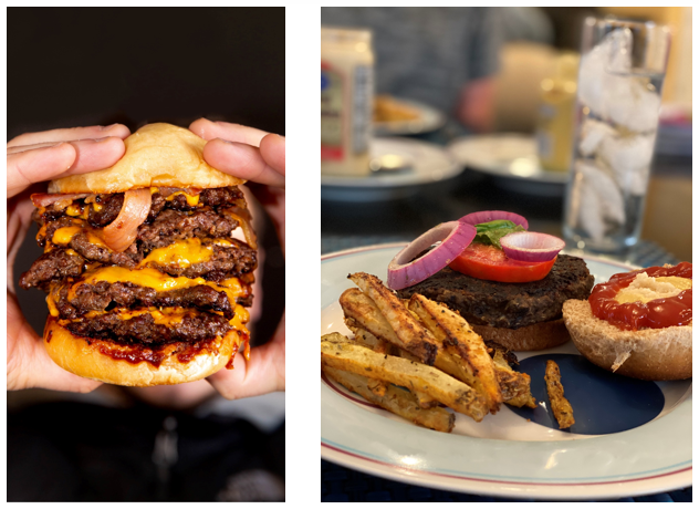 Large Portion of an over sized greasy burger versus a normal serving size of a burger on Livliga's tableware
