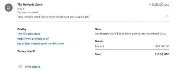 ysense PayPal money