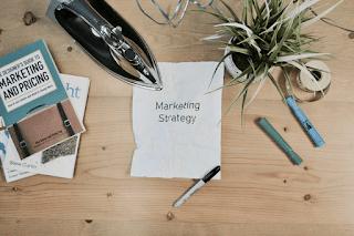 Marketing strategy written on piece of paper