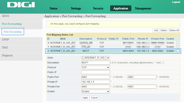 Configure port forwarding in router interface
