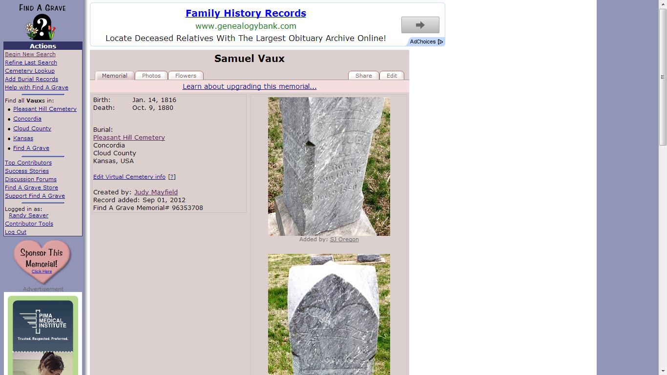 Genea-Musings: The Samuel Vaux Death Date Evidence Conflict