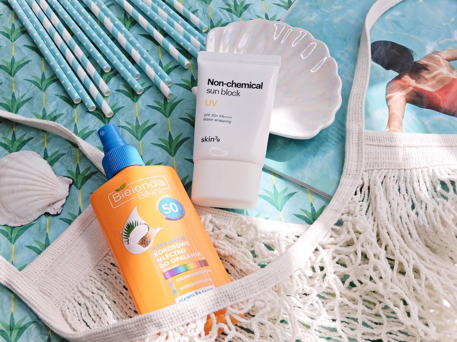 Bielenda bikini Ultra lekkie kokosowe mleczko do opalania SPF50.Skin79, krem przeciwsłoneczny do twarzy Non-chemical Sun Block SPF50+ PA+++,