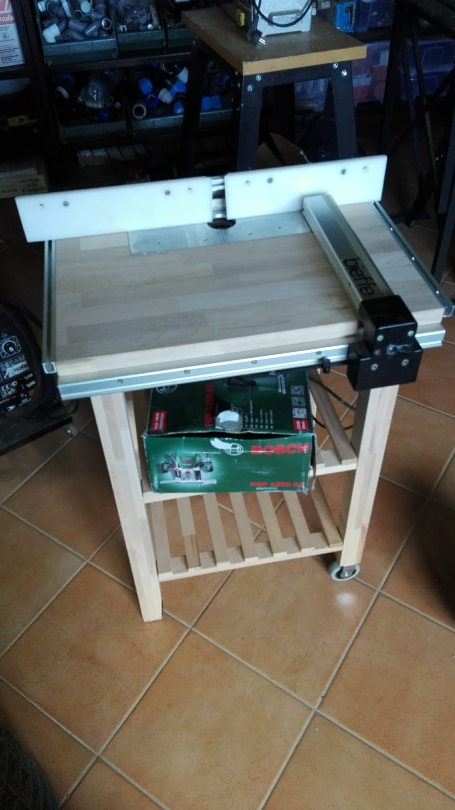 Boxedcnc router table with power lift built around ikea bekvm and this is my quite completed router table built around ikea kitchen cart bekvm and a precise drafting machine cannibalized router is a bosch pof 1200 greentooth Choice Image