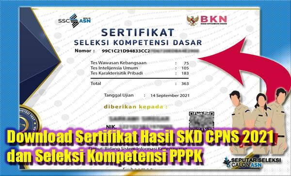 Download Sertifikat SSCASN BKN Hasil SKD CPNS 2021 dan Seleksi Kompetensi PPPK