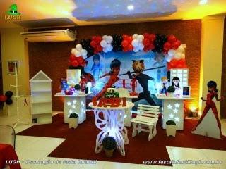 Decoração de aniversário Ladybug - Mesa decorada Miraculous para festa infantil - Barra - RJ