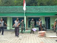 Bangun Sinergitas Polsek Slahung Kerja Bakti Bersama Di Mako Koramil  0802/10 Slahung