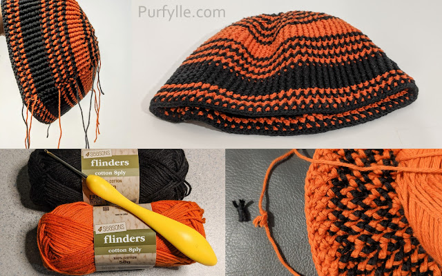 Crochet Beanie With Stretch yarn and hook