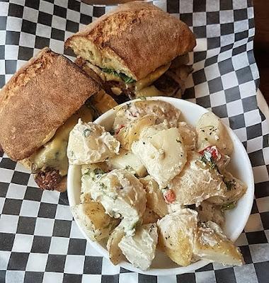 Resto Vego Tempeh Sandwich Potato Salad