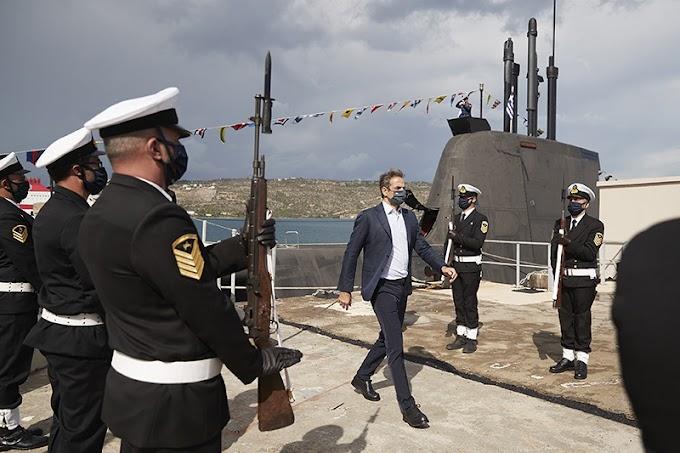 """Στο υποβρύχιο """"Κατσώνης"""" ο πρωθυπουργός Κυρ. Μητσοτάκης ανήμερα της 28ης Οκτωβρίου"""