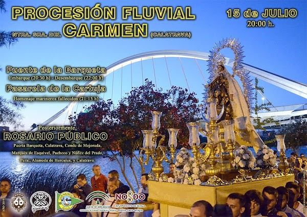 Cartel procesión fluvial de la Virgen del Carmen de Calatrava (Sevilla) 2019