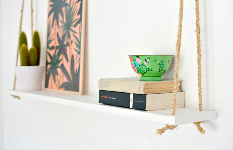Prateleira de corda, uma ideia simples e cheia de bossa!