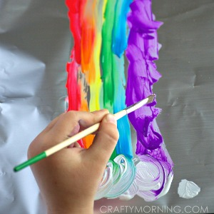 rainbow painting on foil