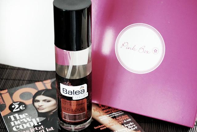 Pinkbox März 2016 balea luxury red love body spray
