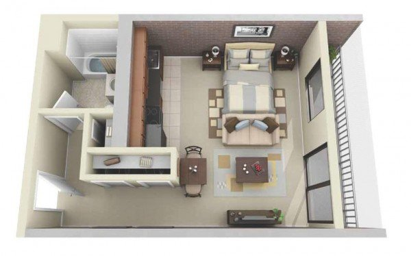 compact single bedroom 3d floor plans with balcony