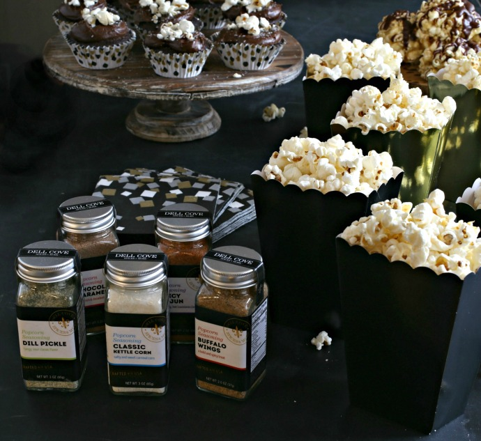 Sweet popcorn balls drizzled with chocolate.