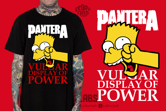 Kaos Pantera Vulgar Display of Power - Contoh Desain Kaos Sablon Rubber Plastisol