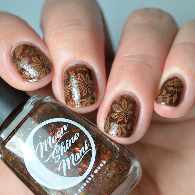 fall leaf nail art stamping four fingers