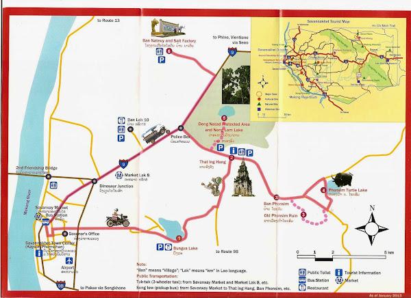 Mapa turistico de los alrededores de Savannakhet