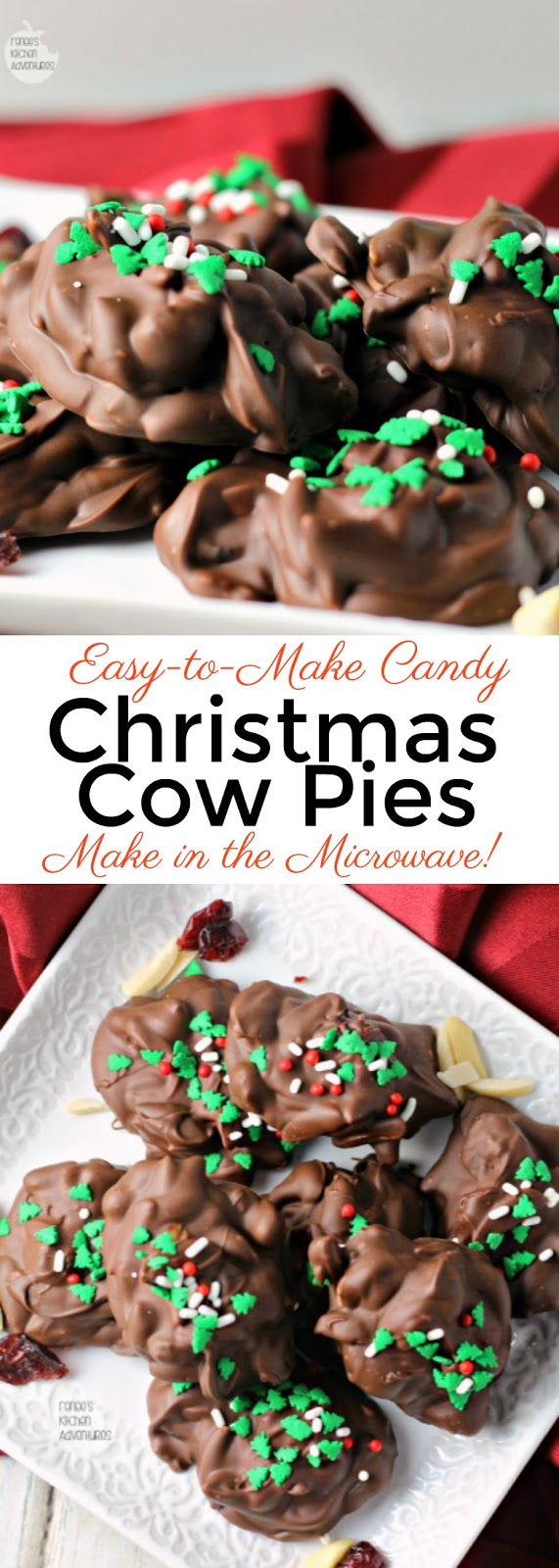 Christmas Cow Pies | Renee's Kitchen Adventures- easy recipe for a Christmas inspired candy that you can make in only 2 steps! Easy-to-make fruit and nuts clusters topped with festive sprinkles make the perfect holiday gift from your kitchen! #candy #candymaking #easyrecipe