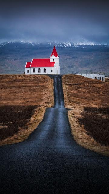 HD Wallpaper Church, Building, Road, Mountain, Nature