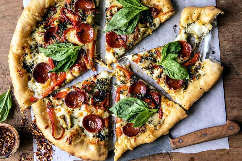 Pesto Pizza with Feta Stuffed Crust