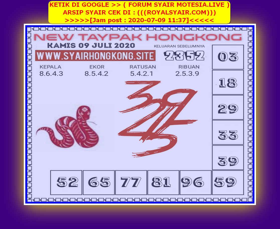 Kode syair Hongkong Kamis 9 Juli 2020 242