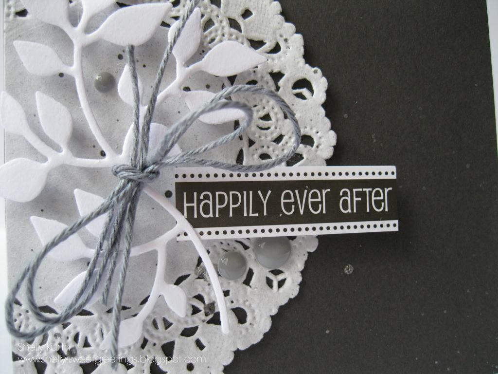 SRM Stickers Blog - Doily Wedding Card by Shelly - #card #wedding #doily #twine #stickers