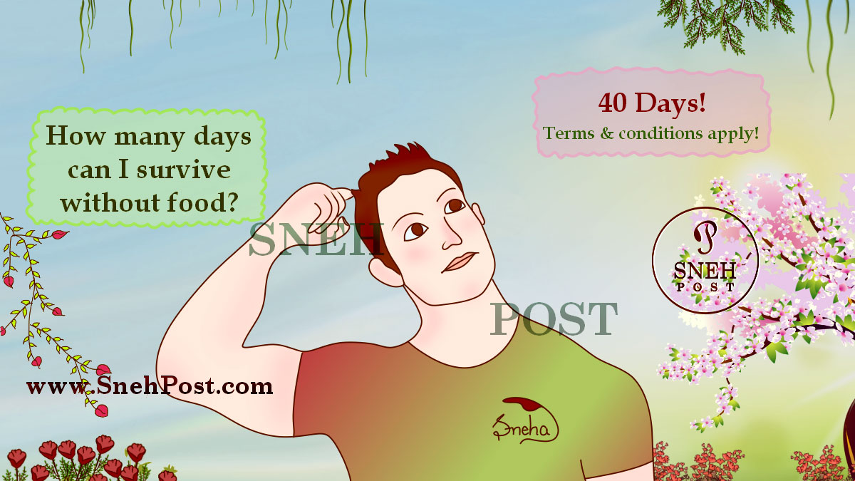 Proper nutrition: Cartoon illustration of a handsome guy thinking — How many days can I survive without food. Its answer is 40 days with terms and conditions applied