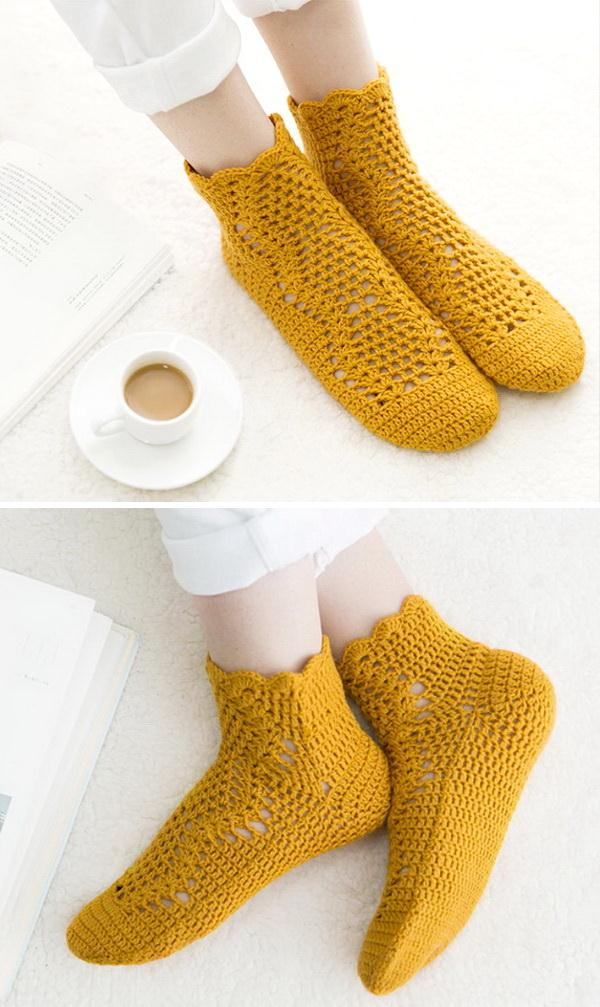 Crochet Socks, Yellow
