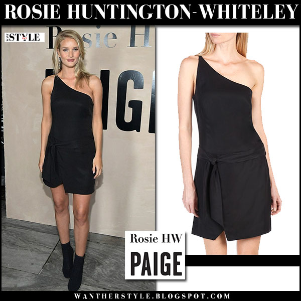 Rosie Huntington-Whiteley in black one shoulder mini dress rosie hw x paige baby bump style what she wore